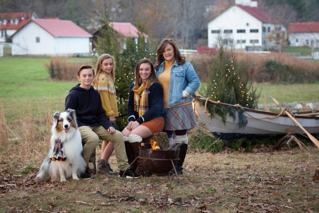 family in all color with bomb fire