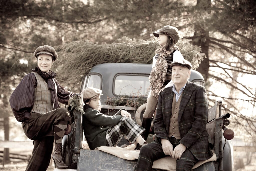 vintage holiday family on old truck