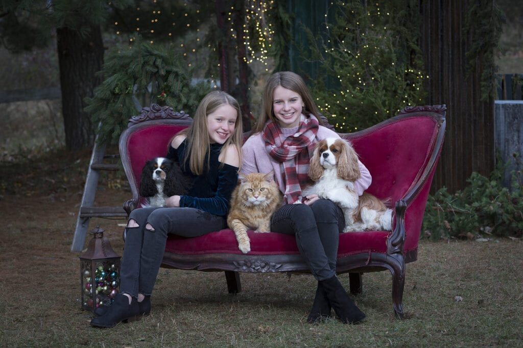 sisters on red sofa with pets for holiday mini session in Leesburg virginia