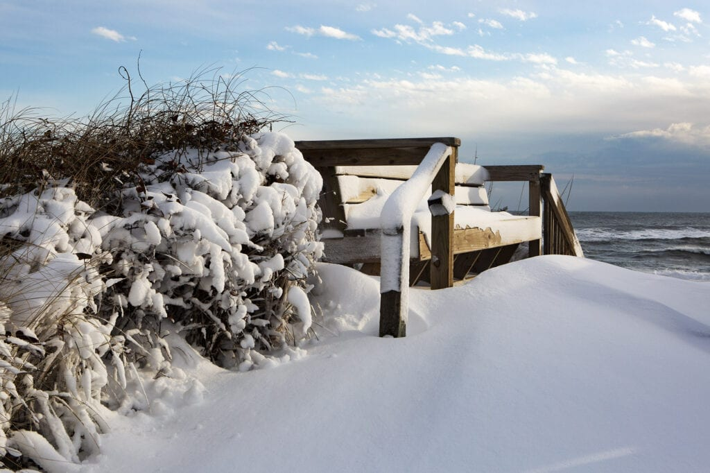 Snow covered ocean view in the Outer Banks