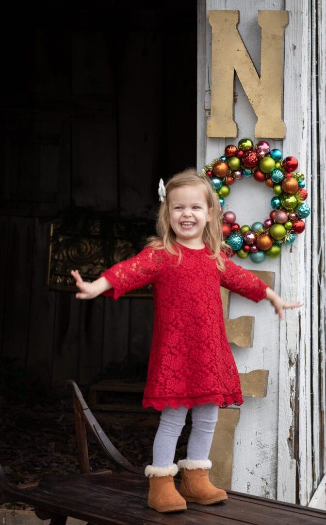 Christmas girl in red dress