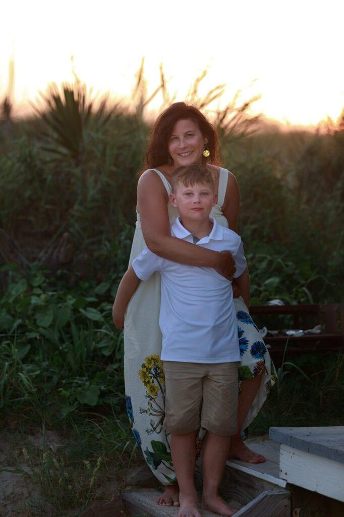 Mom and son at sunset Carova NC