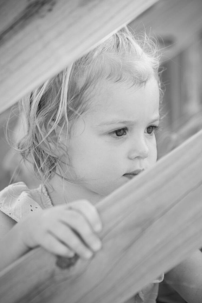 little girl on beach deck, Duck NC