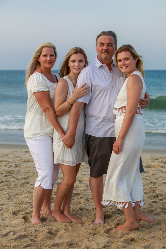 family on the beach in the outer banks