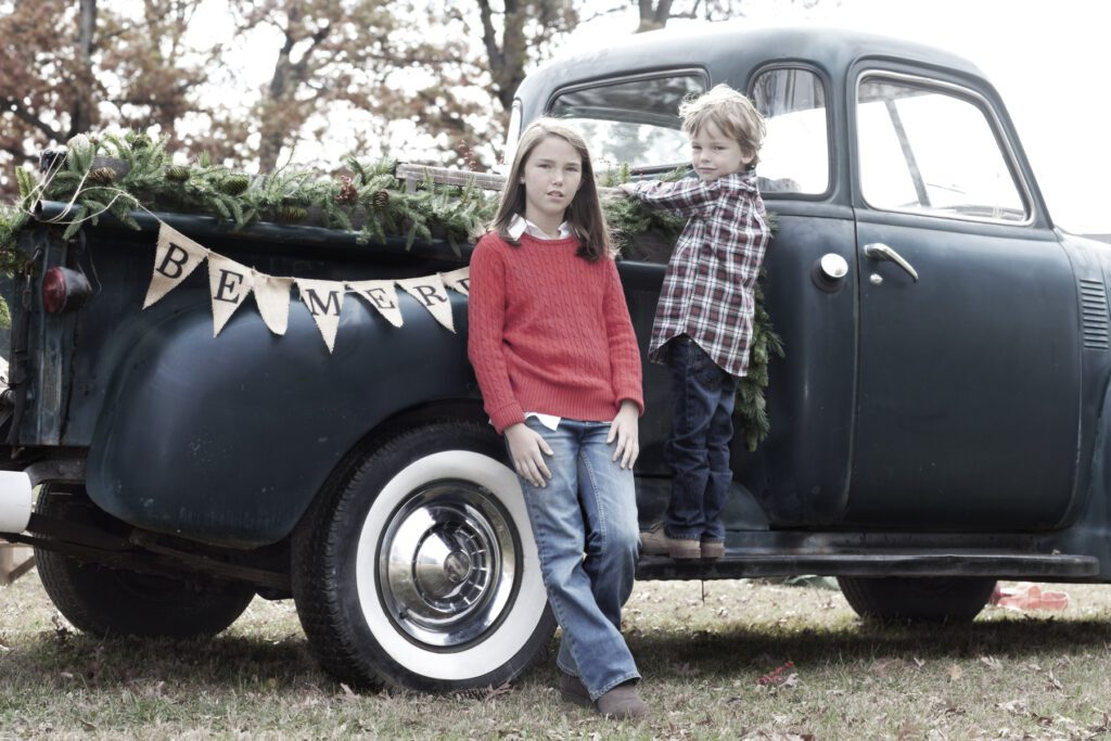 Vintage truck with kids for the holidays Loudoun County